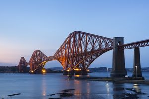 The Mighty Forth Rail Bridge at dusk.