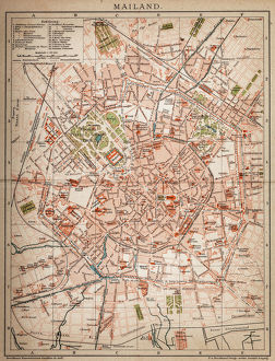 Milan, Italy antique map from 1898