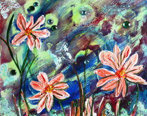 Mixed media flowers, butterflies and fireflies