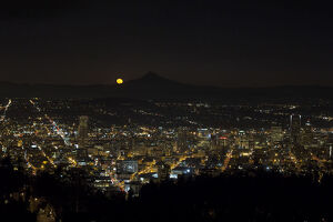 Moonrise Over Portland Oregon Cityscape