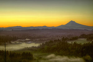 Moonrise and Sunrise Over Mount Hood Sandy River