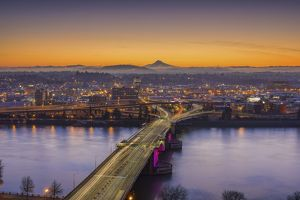 Mount Hood and Morrison Bridge