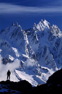 MOUNTAINEER ON ALPS, FRANCE