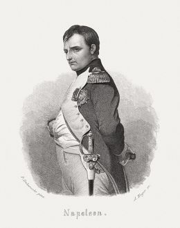 NapolA©on Bonaparte (1769-1821), steel engraving, published in 1868
