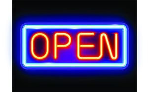 bar art prints/neon open sign