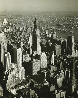 New York City, (B&W), (Aerial view)