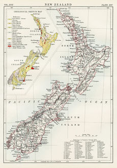 New Zealand map 1884