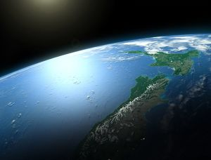 New Zealand from space, illustration