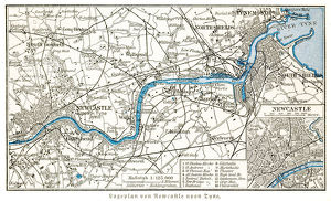 Newcastle upon Tyne city map 1895
