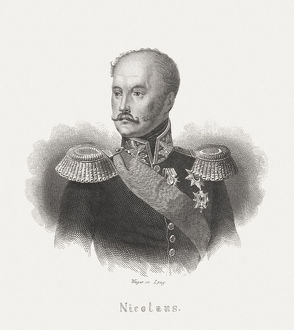 Nicholas I of Russia (1796-1855), steel engraving, published in 1868