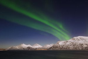 Norway, Troms, View of Aurora Borealis near Tromso