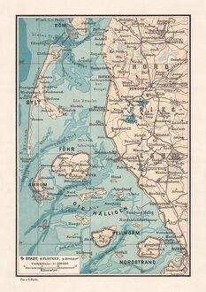 Northern Friesland (Nordfriesland), and islands, Schleswig-Holstein, Germany, lithograph