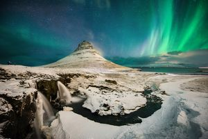 The northern Light at Kirkjufell, Iceland.
