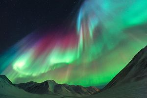 Northern Lights above Alaskan Mountain