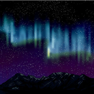 Northern Lights Over Mountains Background With Stars