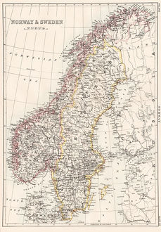 Norway and Sweden map 1884