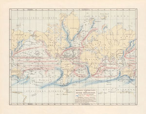 Ocean currents and sea depths, lithograph, published in 1897