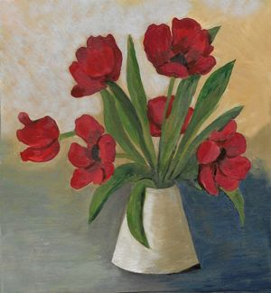 Oil panted tulip flower arrangement