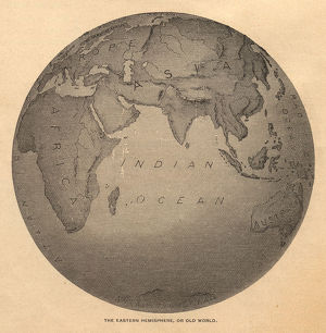 Old, Black and White Illustration of Eastern Hemisphere, From 1800's