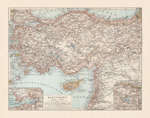 Old topographic map of Asia Minor (Turkey), lithograph, published 1897