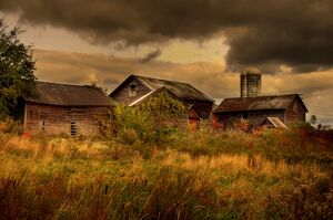 Old wooden barns in New York.