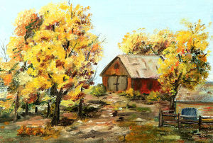 Original art painting of red barn and trees in autumn