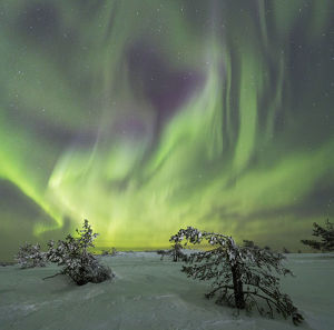 Panoramic of Northern lights KittilA€ Lapland Finland