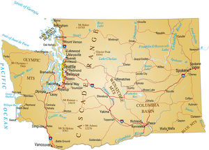 A paper map of Washington state