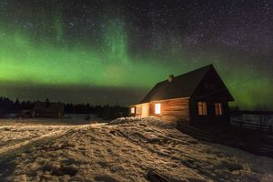 Northern Lights over hut