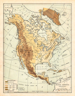 Physical map of North America 1895