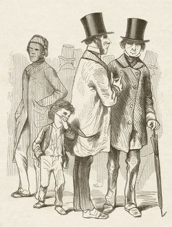 Pickpocket in London, wood engraving, published in 1872