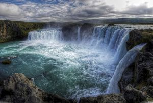 Picturesque Godafoss waterfalls in north Iceland