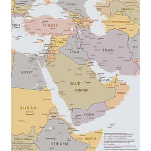 Political map of The Middle East