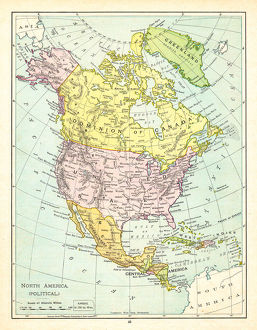 Political Map of North America 1895