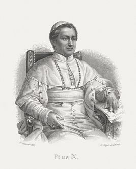 Pope Pius IX (1792-1878), steel engraving, published in 1868