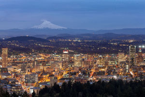 Portland Cityscape with Mt Hood at Dusk