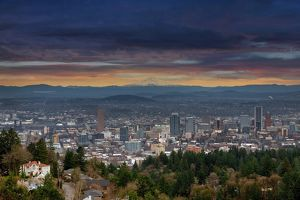 Portland Cityscape at Sunrise