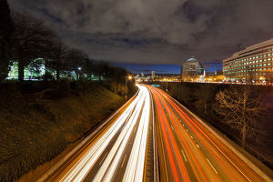 Portland Freeway Light Trails to Downtown