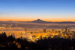 Portland Oregon Cityscape at Dawn