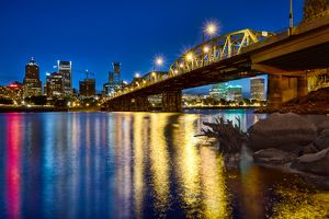 Portland Oregon waterfront skyline at Blue Hour