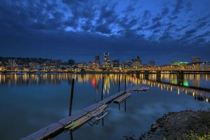 Portland Waterfront at Blue Hour