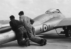 RAF De Havilland Vampire being pushed into position ready for take-off