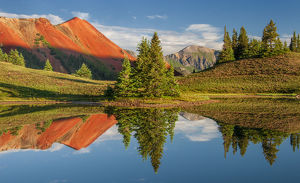 Red Mountain and reflecting ponds