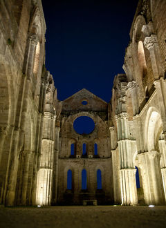 Ruins of the Abbey of San Galgano at night