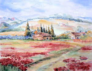 Rural scene in Provence, from imagination