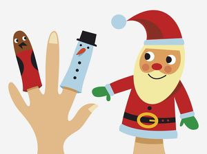 Santa Claus hand puppet, and bird and snowman finger puppets.