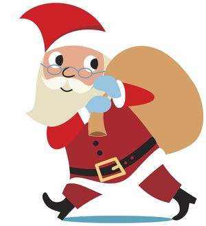 Santa Claus walking with sack flung over his shoulder, side view.