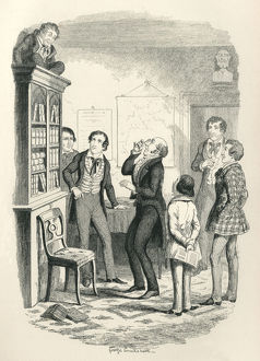 Scared Victorian schoolboy hiding on top of a bookcase