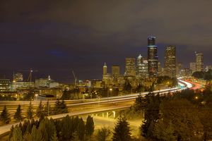 Seattle City Freeway at Night