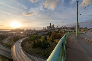 Seattle Skyline and Freeways at Sunset